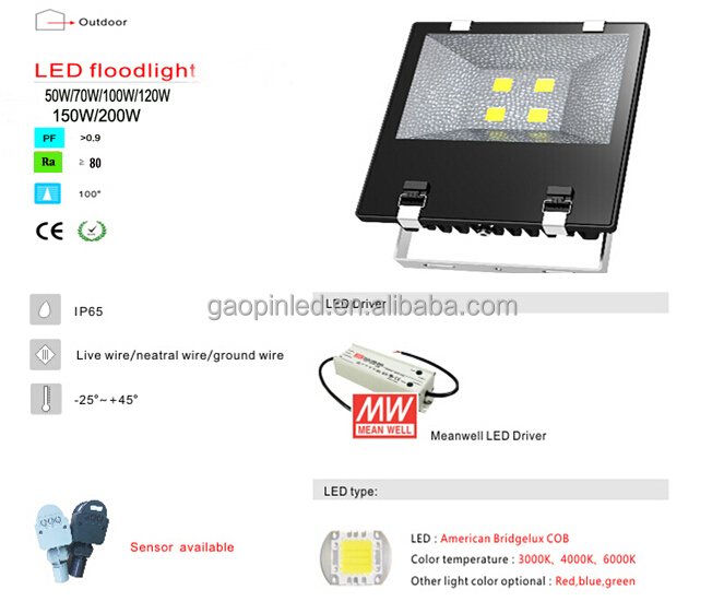 LED Spotlight IP65 Waterproof 100w led floodlight, Hot Sale floodlight