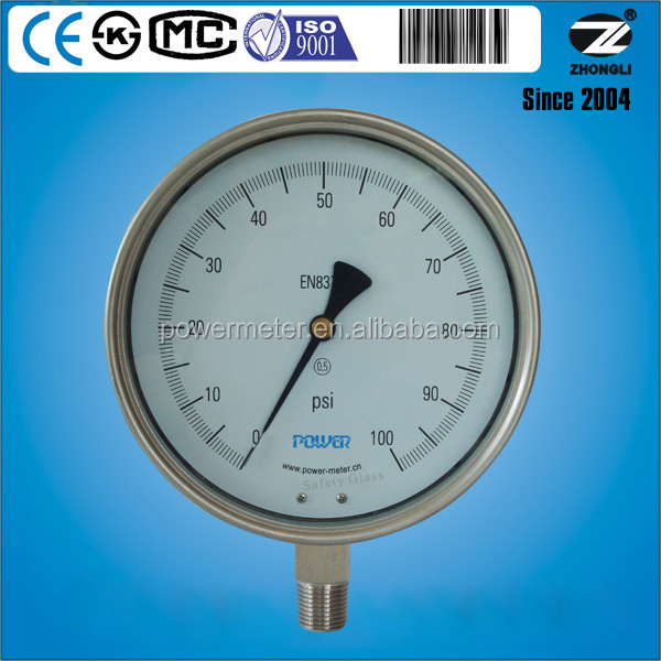 6inch 160mm Bourdon tube 100PSI High Precision Pressure Gauges with 0.5 accuracy