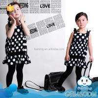 Wholesale high quality factory price classical black polka dot hot kids night clothes 2014 casual baby dress pictures of 2-7