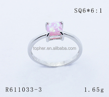 Squar shape 6mm Synthetic pink color opal stone Cabochon shape sterling silver ring