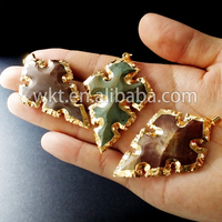 New! Natural gemstone indian agate arrowhead pendants WT-P409