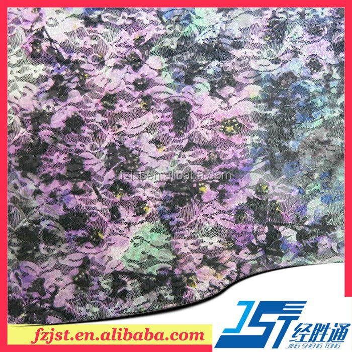High Quality Elastic Rayon Flow Picture Print Handkerchief Lace Fabric For Sale