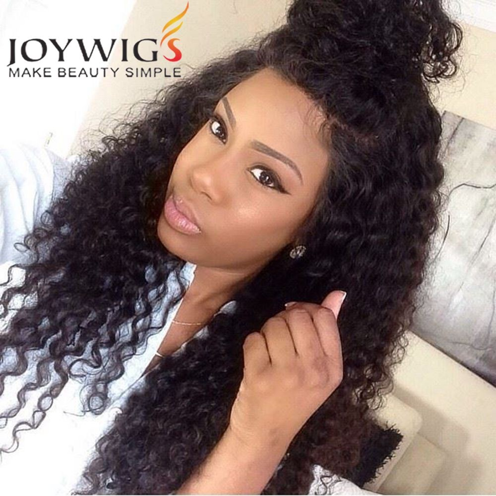 "2016 Joywigs Cheap Wig 18"" Natural Color 150% Curly Peruvian Full Lace Wig"
