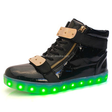 Black/White igh top led shoes with 7color battery operated led shoes light rechargeable led shoes