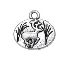 Alibaba Cheap Wholesale Zinc Alloy Antiqued Oval Shaped Animal Deer Charms