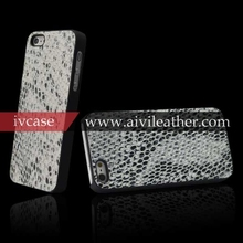 Back Shell Snake Vein High Quality Genuine Cowhide Cover for iPhone 5 5s, for Apple iPhone 5 5s luxury case leather