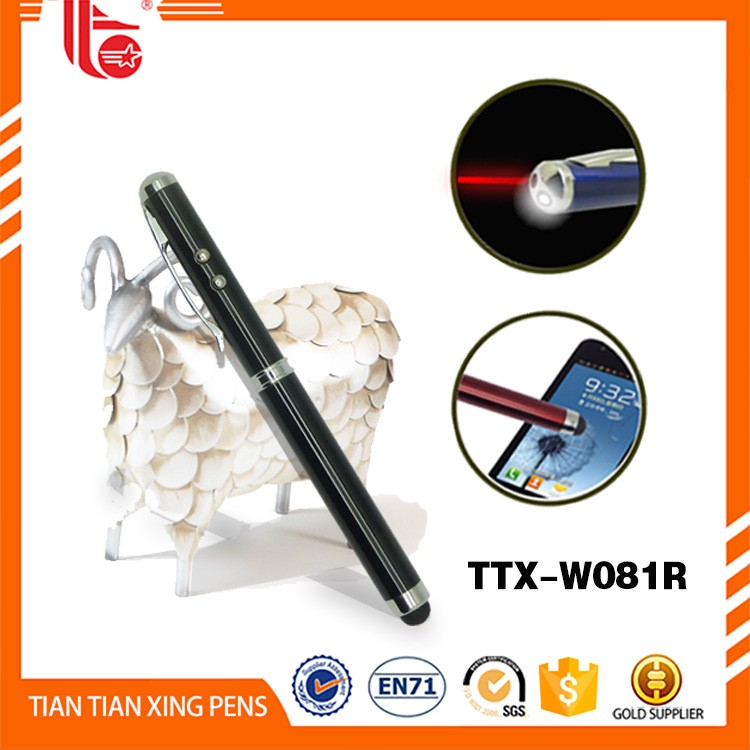 Promotional 4 in 1 stylus led pen with laser pointer and touch light