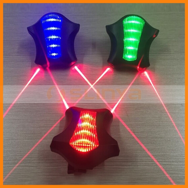 Colorful Bicycle Lamp 5 LED 2 Laser Safety Laser Tail Light