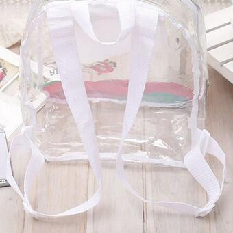 PVC Transparent Backpack Girl's Women's Waterproof Clear Summer Beach Shoulder Pouch School Bags