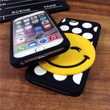 Custom smile face emoji silicone phone case for iphone 5 6