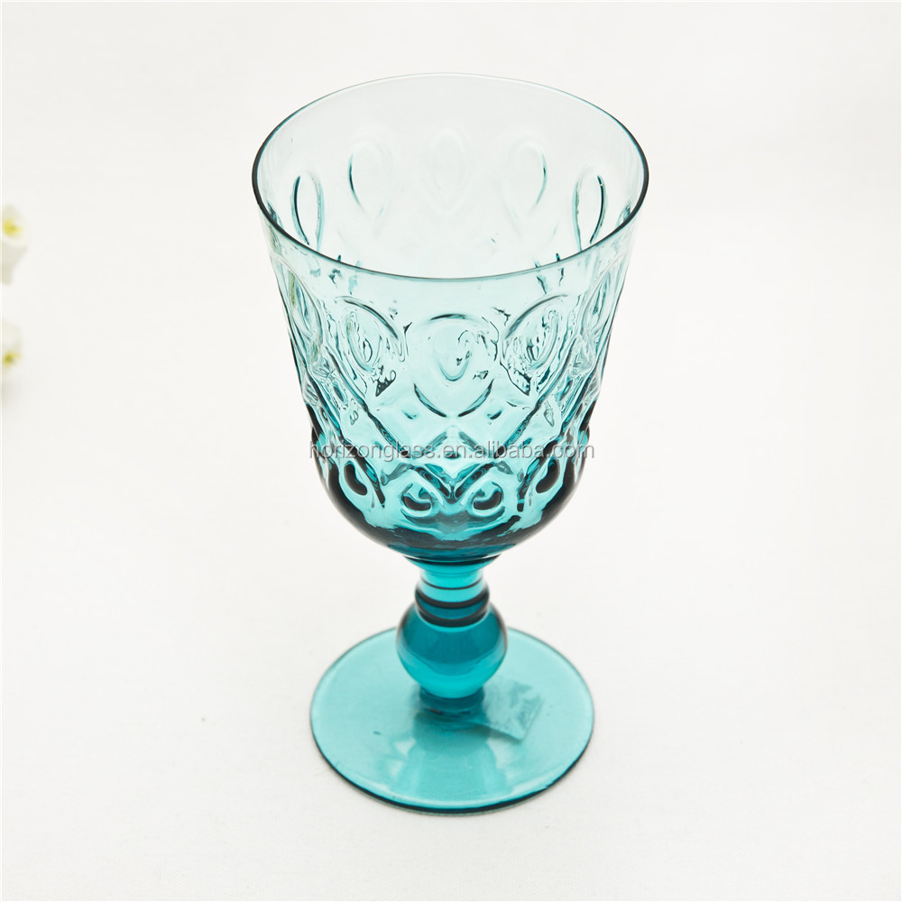 2017 hot new products Colored <strong>Glass</strong> Goblet Hand Made Wine <strong>Glass</strong> Wholesale