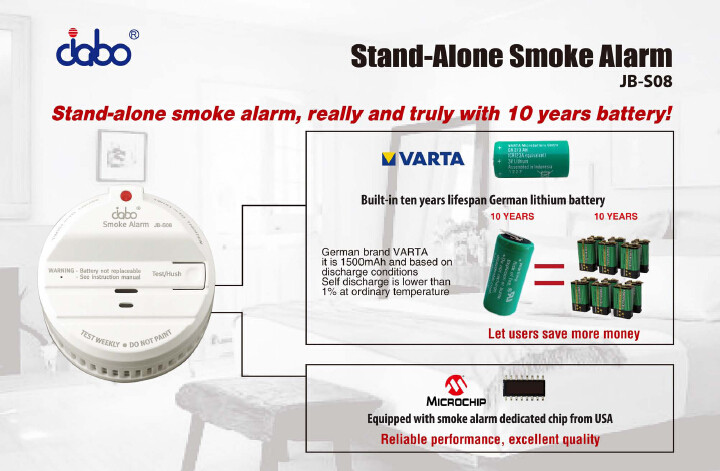VdS3131 approved smoke detector, with a built-in 10 years Varta brand Lithium battery