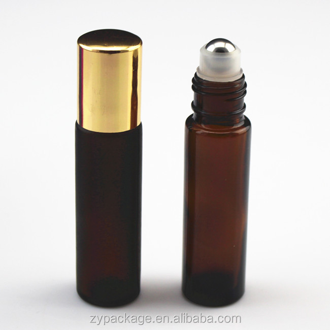 Brown frosted glass essential oil metal roller bottles 1/3oz with gold cap