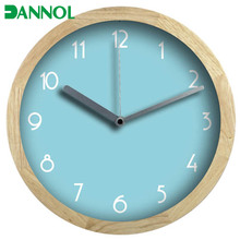 Dia.30cm sky blue natural wooden wall clock decorate wall clocks for bedroom