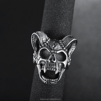 EKUSTYEE Jewelry Vintage Stainless Steel Ring Goat Skull for Man Gothic Sport Biker Male Finger Rings