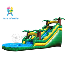 Cheap kids tropical inflatable water slide with pool for sale