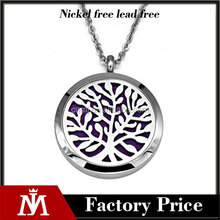 Hot selling stainless steel tree magnetic aromatherapy necklace jewelry silver diffuser pendant for men