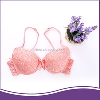 Hot newest style fashional satin bowknot orange sweet lace ladies bra brands