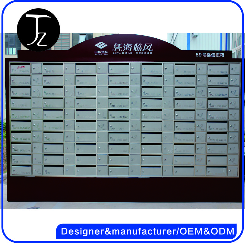 Casting Craftsman.Customized Stainless steel apartment building handmade mailbox with pedestal