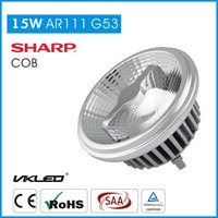 Led Lighting Hardware Aluminum Body AC/DC 12 Volt 15W SHARP COB LED AR111 G53 Ra>80/90 Dimmable Small Beam Angle LED Spot Light