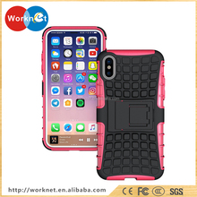 2017 new hot products PC+TPU mobile phone case for iphone X with kickstand, tyre patter phone case for iPhone X