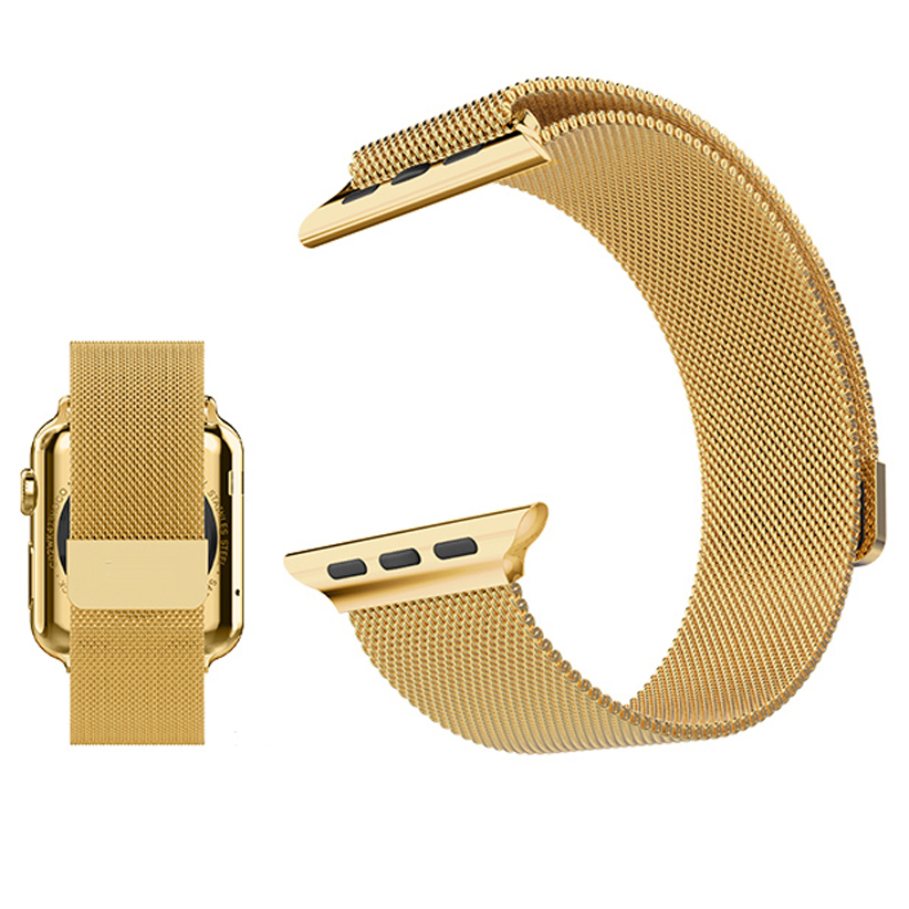 Fully magnetic closure clasp metal strap for apple watch band Milanese loop mesh smooth stainless steel strap wrist band