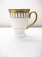 Supper white electroplated gold ceramic printed enamel mugs