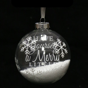 Transparent and full of snowflakes glass christmas tree balls