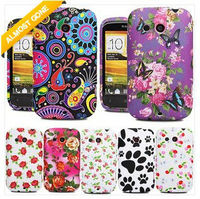 Laudtec For HTC Desire C Desire C Flower Printed Soft Silicone Gel Phone Case Cover