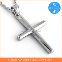 Custom Round Wood Design Stainless Steel Cross Pendant of Fashion Jewelry