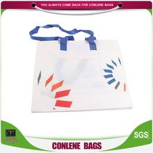 New coming OEM quality advertising promotion with zipper blue woven handle rpet non woven bag