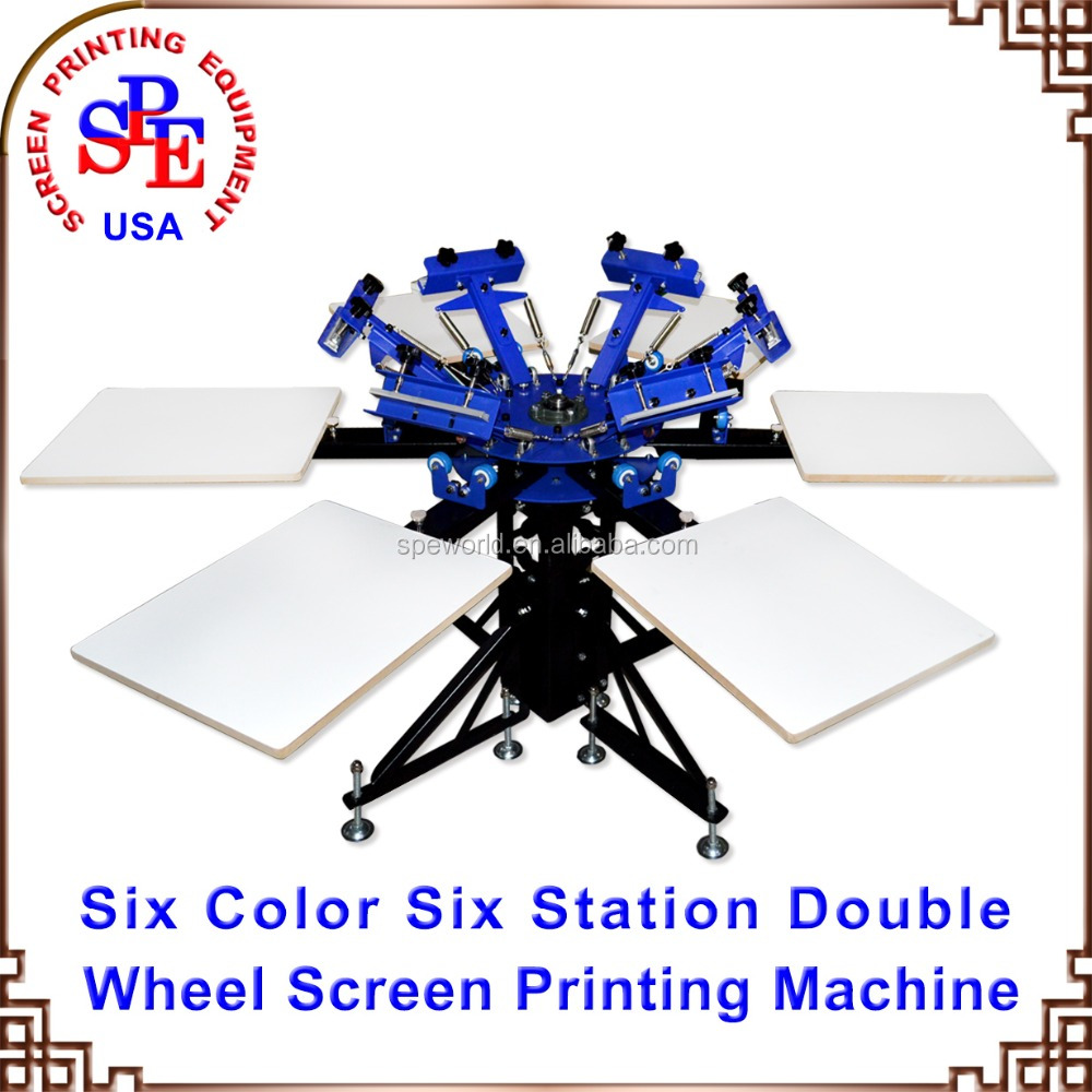 SPEA 6 color 6 station manual screen printing machine screen printing equipment silk screen printing