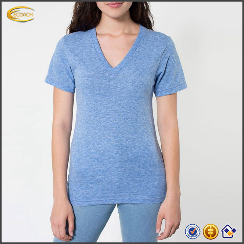 2017 NEW Wholesale High Quality Women Slim Fit Tee Plain V-neck Custom LOGO T Shirt Printing For Sports