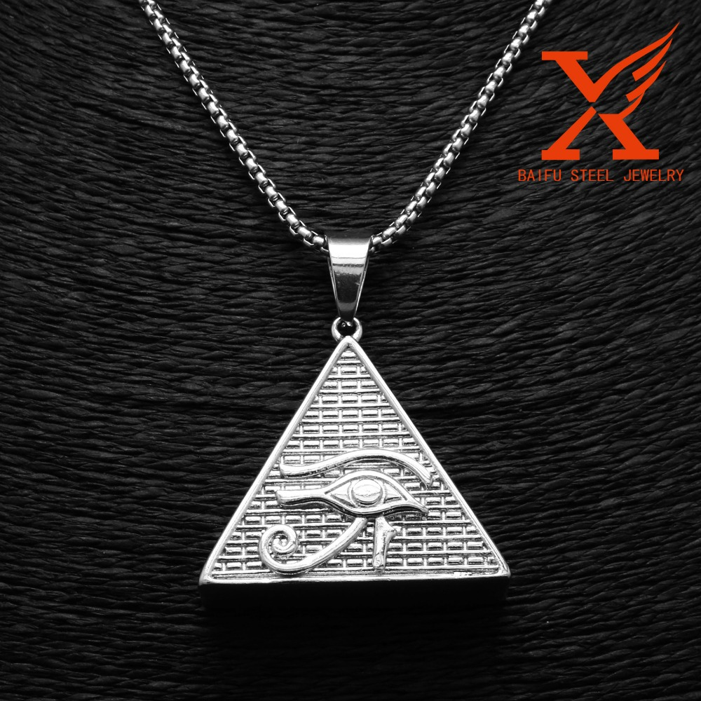 Stainless Steel Silver Pyramid of Giza Charm Khufu Cheops Triangle Pendant