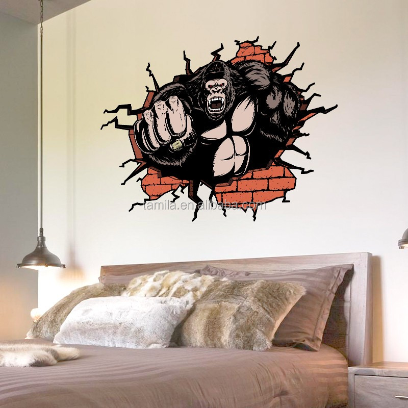 3D King Kong wall decoration sticker adesivo parede wandsticker wandaufkleber sticker mural