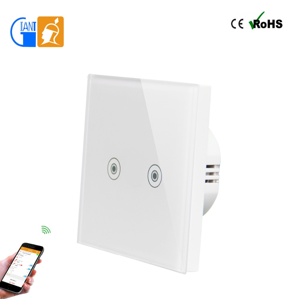 Home Automation 2 Gang 1 Way Wireless Remote Touch Screen Wall Light Switch Plates Cover