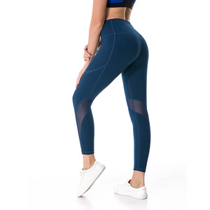 Hot Selling Black Mesh Splicing Power Flex Compression Nine Length Workout Sport Leggings For Women