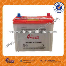 dry charged car battery NS60 12V45AH terminal types A