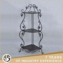 Custom Reliable Decoration Black And Brown Corner Metal Commodity Shelf