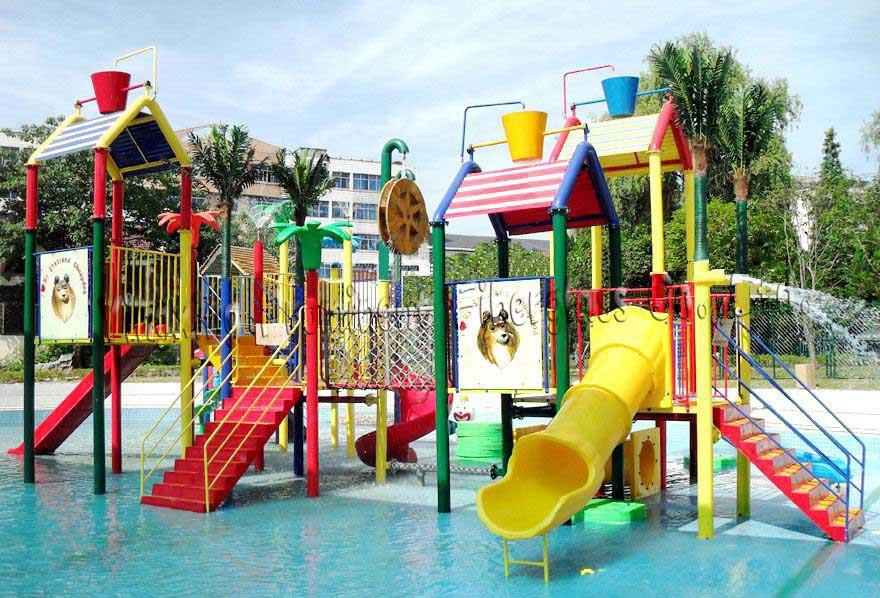 kid play house swimming pool fiberglass slides