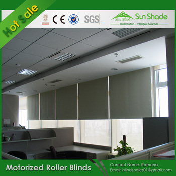 Cheap sunblock motorized roller blinds system with 100 for Motorized roller shades price