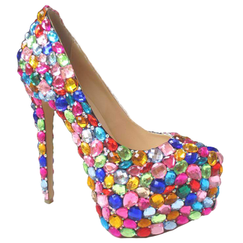 2015 newest design colorful crystal wedding shoes