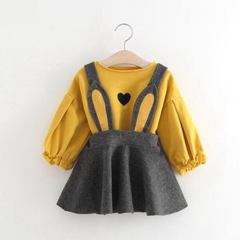 2018 Autumn new design children clothes sets korean baby girl long sleeve top with bunny ear suspender dress 2pcs sets