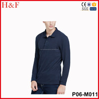 OEM service men's long sleeves polo t shirt cheap custom printed plain navy shirts