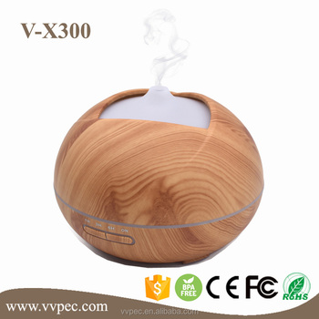 2017 300ml new arrival wooden aroma diffuser with 7 color changing LED for spa