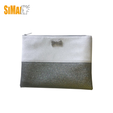 Fashion silver PU makeup bag cosmetic bag beauty flat pouch,butterfly metal label