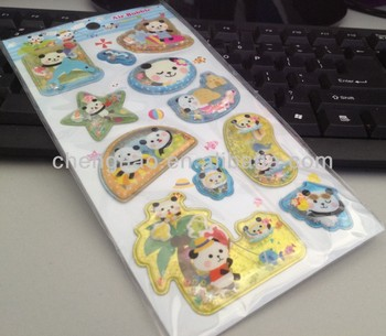3d vinyl cartoon plastic bubble stickers for kids made in China
