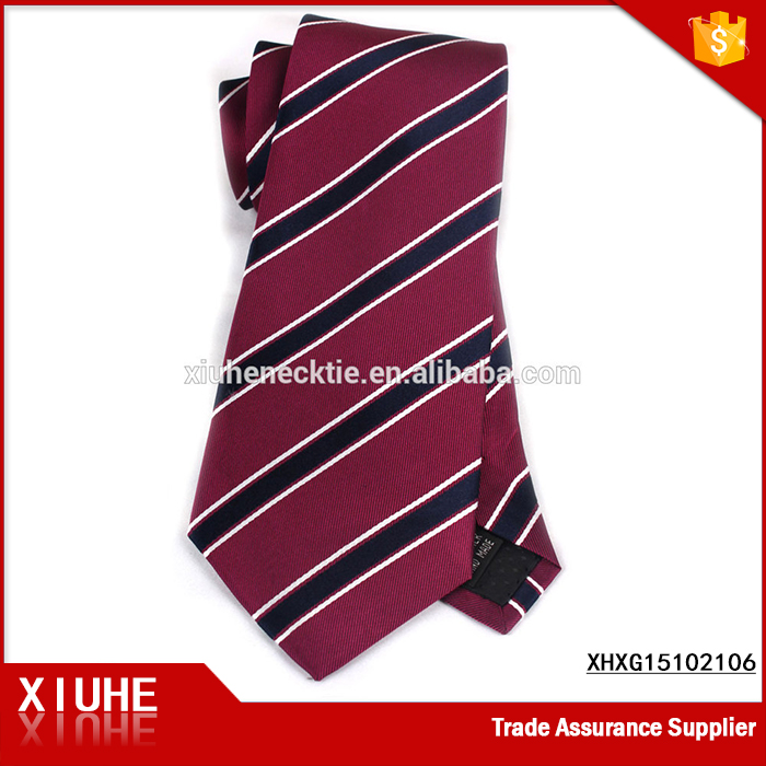 Fashion Silk Woven Wine Red and Blue-Black Stripe Tie