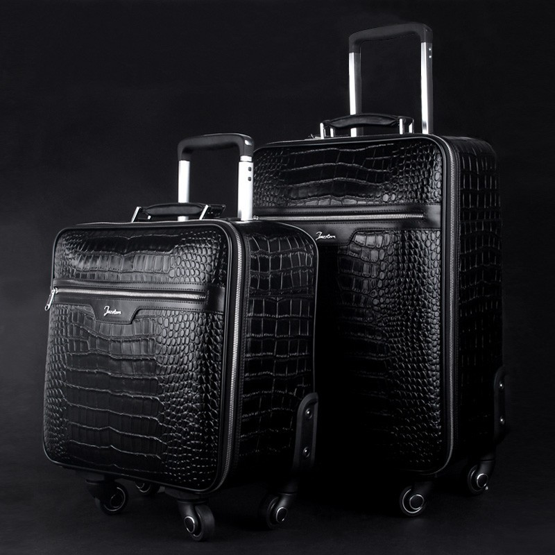Luxury Business Crocodile Genuine Leather Travel Luggage Universal ...