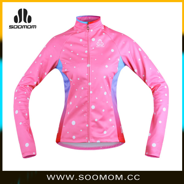 Sublimated printing women Cycling Jacket,Fleece cycling coat
